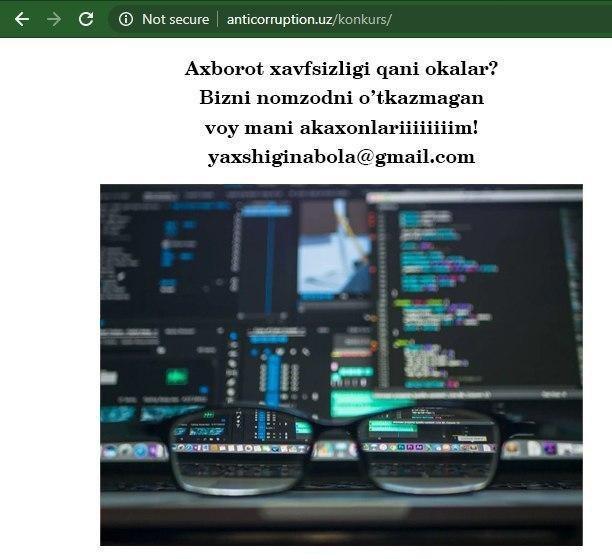 «Ҳамма маълумот менда»: Коррупцияга қарши курашиш агентлигига тегишли вебсайти хакер ҳужумига учради